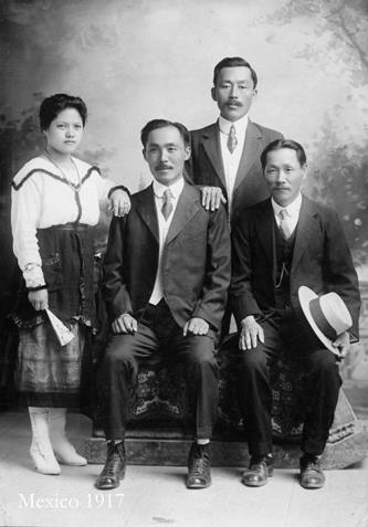 1917 Mexico | Dosan was President of the Central Congress of the Korean National Association (KNA). He was in charge of nearly all Korean Independence Movement activities at this time. Pak Yong Man was the Vice President. Dosan went to Mexico where this was taken with the KNA leaders. Just like all KNA communities, a large portion of their income was donated to the Independence Movement - even the slave work wages ended up in the fight to free Korea (The 1905 immigration scam sent Koreans into slavery in Mexico). From left to right: Mary Im, Dosan, unidentified, Kim Ki Chang