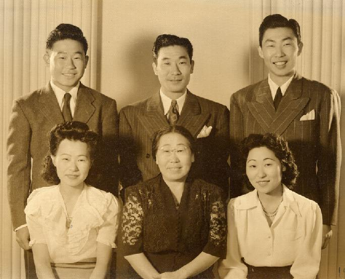 The Family picture is from 1942. Dosan left the family in 1926 and died in a Japanese Prison in Korea in 1938. Top - Left to Right: Ralph Ahn youngest son, Philip Ahn oldest son, Philson Ahn second son. Bottom - Left to Right: Soorah Ahn youngest daughter, Helen Lee Ahn (Yi Hye Ryon), Susan Ahn Cuddy oldest daughter.