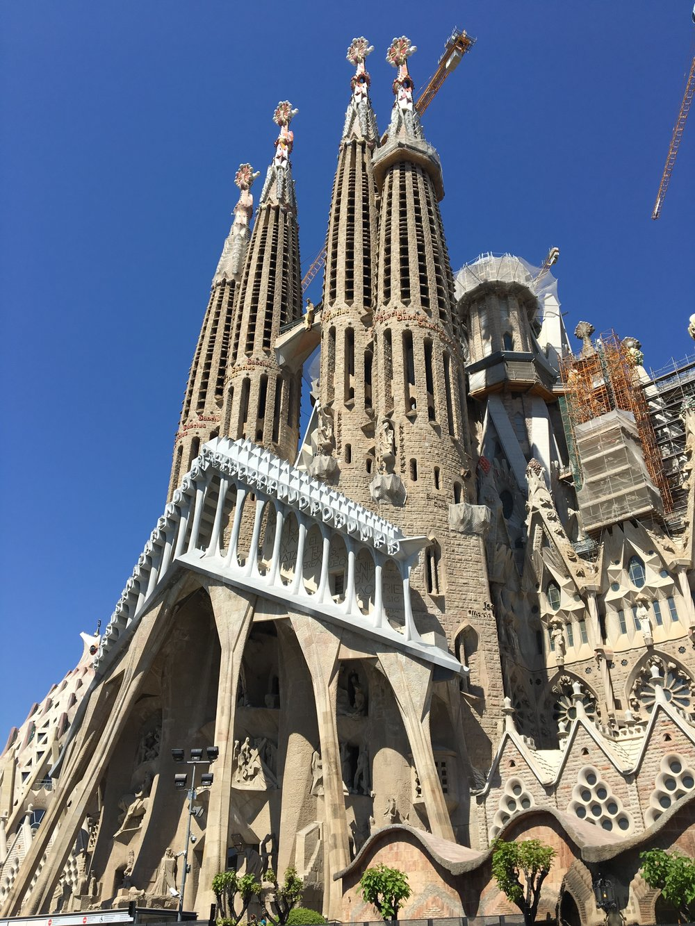 One side of the Sagrada Familia, which was built to reflect the way nature represents Heaven, Hell, and God's word.
