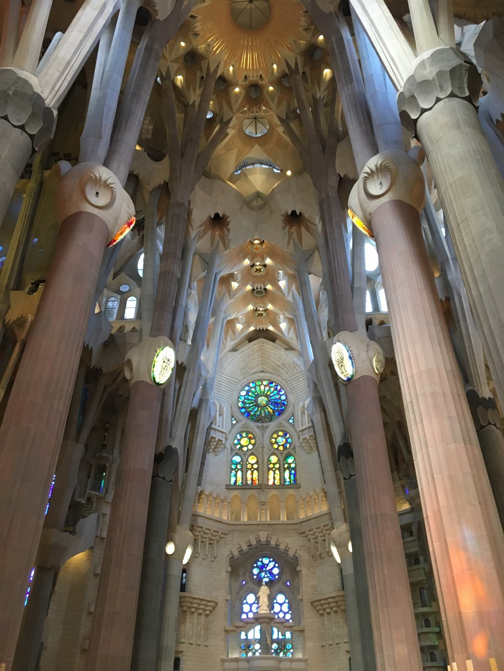 Sagrada Familia - Gaudi wanted the interior of his Cathedral to remind us of a forest, with columns reminscent of trees and rich colors found in the stained glass.