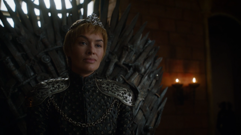 Cersei looking angry and disheveled as per usual. Lena Headley, you're a rockstar for making your character so delectably hatable.