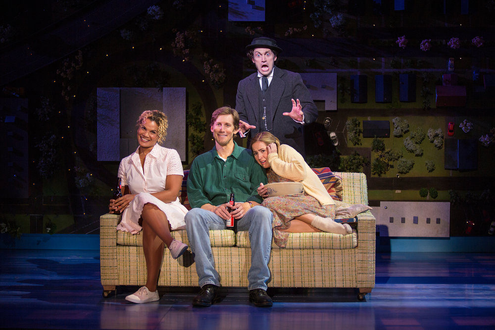 """From left to right: January LaVoy as Ruthie, Andrew Samonsky as Benny, Bryce Pinkham as Sam, Hannah Elless as Joon in The Old Globe's """"Benny & Joon"""" 
