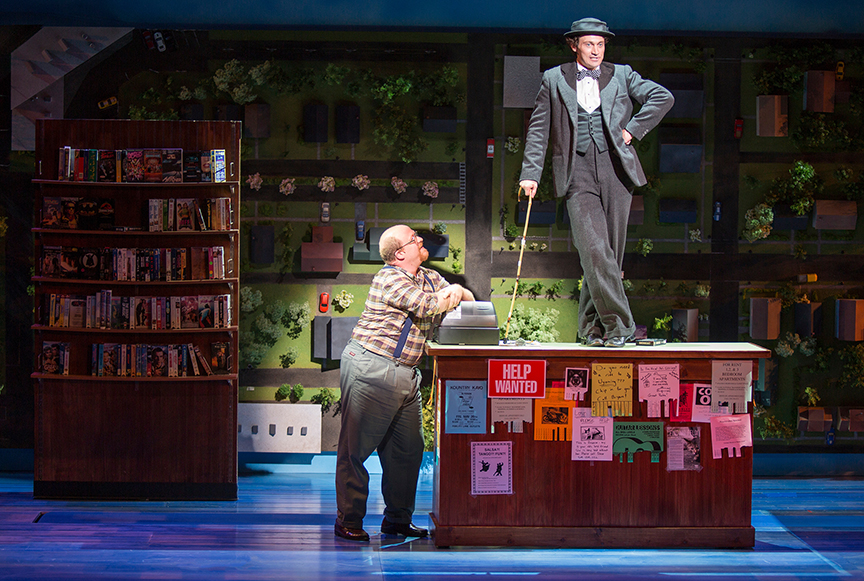 """From left to right: Jason Williams as Video Store Owner, Bryce Pinkham as Sam in The Old Globe's """"Benny & Joon"""" 