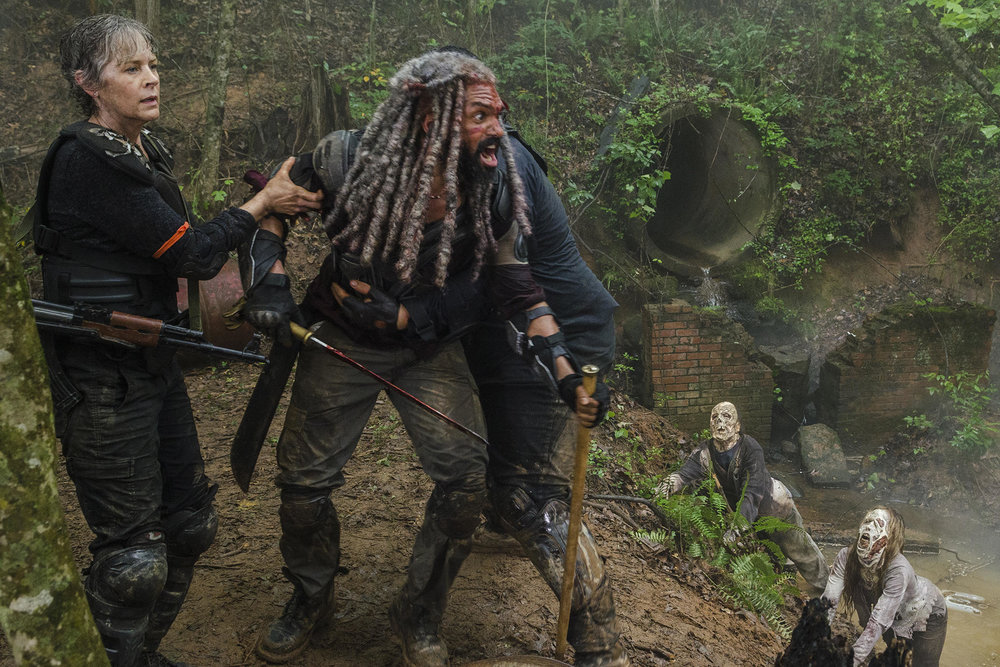 Melissa McBride as Carol, Khary Payton as King Ezekiel in Ep. 804 'Some Guy'  /AMC