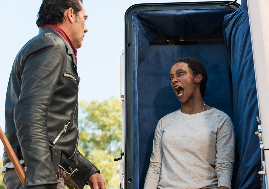"Jeffrey Dean Morgan as Negan, Sonequa Martin as Sasha in ""The Walking Dead""  /AMC"