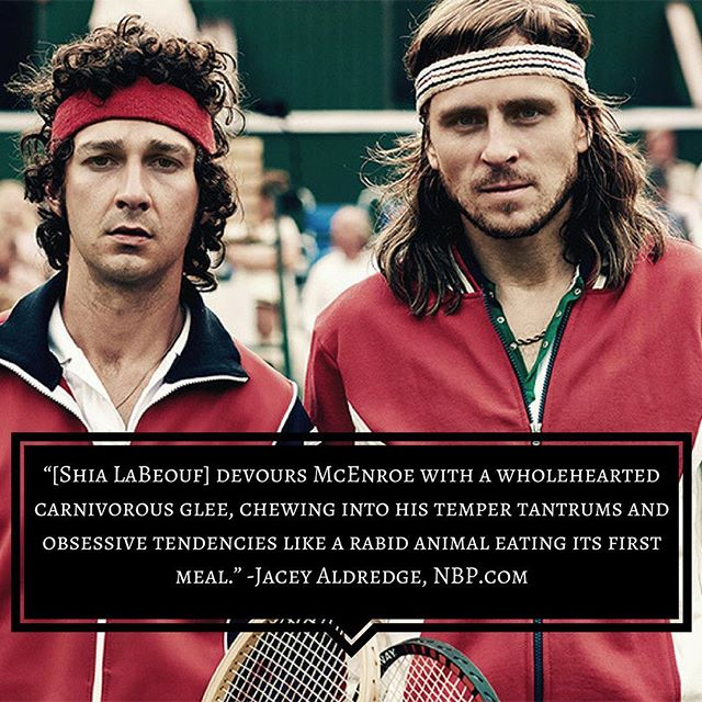 Seen any good sports movies recently? 🤾‍♀️🏄‍♂️⛹️‍♂️🎾🥇🚴🏿‍♀️ . . . #borgvsmcenroe #shialabeouf #sports #tennis #moviereview #nextbestpicture #filmreview #80s #wimbledon