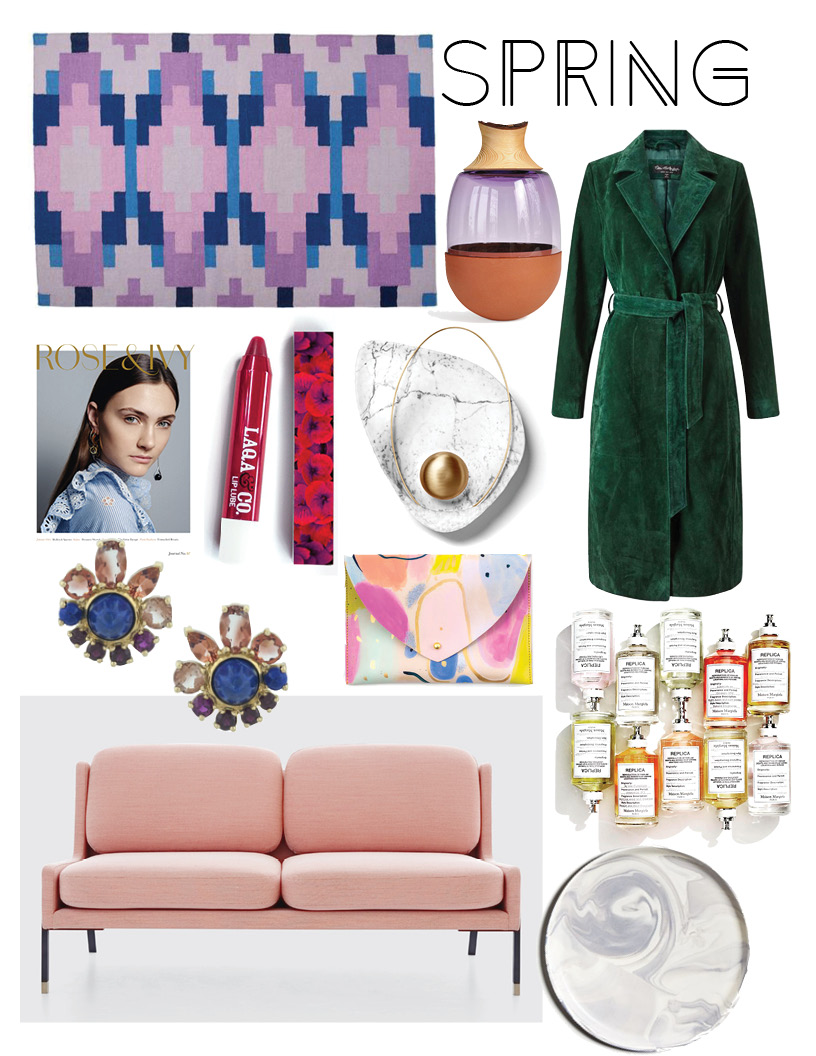 1/Rug 2/Vase 3/Trench 4/Magazine 5/Lipstick 6/Sconce 7/Perfumes 8/Earrings 9/Clutch 10/Sofa 11/Plate