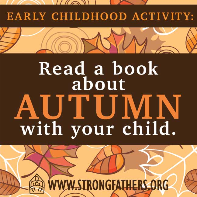 Dads, read a book about autumn with your young child.