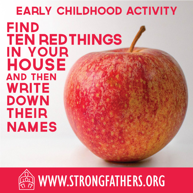 Find ten red things in your house and write down their names