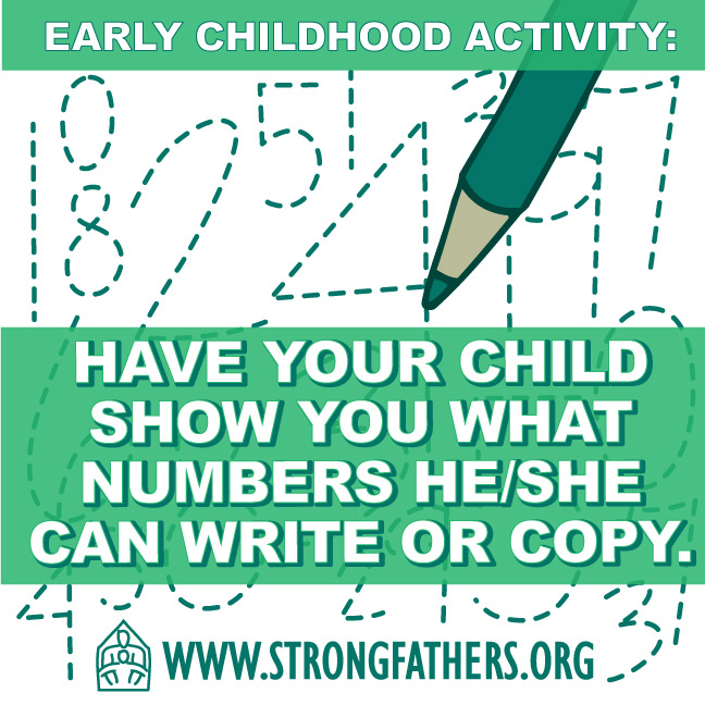 Have your child show you what numbers he/she can write or copy