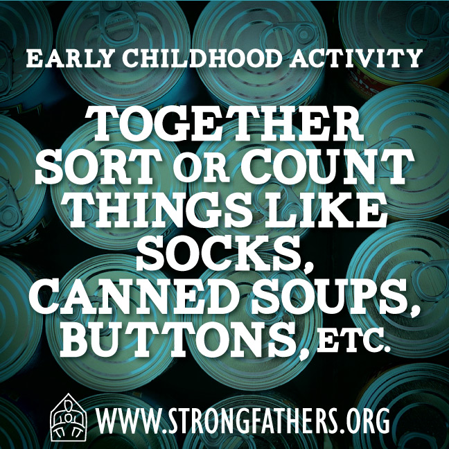 Together sort or count things like socks, canned soups, buttons ect.
