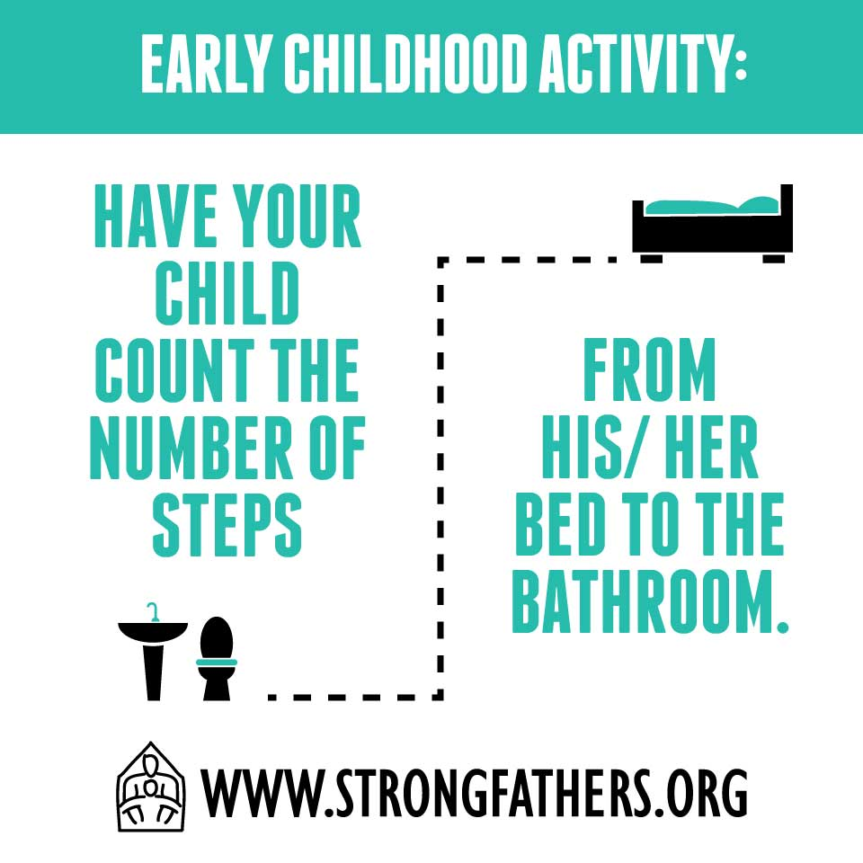 Have your child count the number of steps from his/her bed to the bathroom
