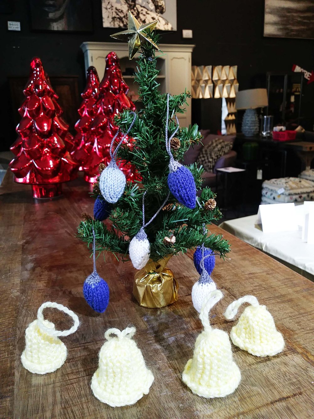 Christmas Light Bulbs - This pattern is great to use up any of your leftover yarn. It works with any size yarn or needles!Cast on 3 stsKfb of each st onto a DPN (6 sts)K round(Kfb, K1) x3 (9 sts)K round(Kfb, K2) x3 (12 sts)K round(Kfb, K3) x3 (15 sts)K round(Kfb, K4) x3 (18 sts)K 3 roundsK2tog all aroundFill light bulb with stuffing. Switch from bulb yarn to plug yarn.K 3 roundsK3tog all aroundK3tog and tie knotTie yarn into a look to hand the light from. Sew in ends.