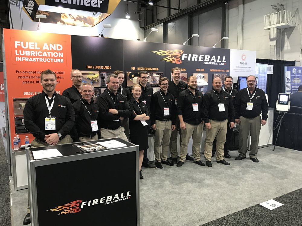 Fireball Equipment Ltd. Mining Team. Representing Fireball at the MINEXPO conference and trade show in Las Vegas in September, 2016. Official kick-off for the new series of Fuel and Lubrication Mining Modules.