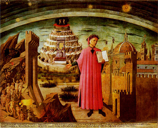 Dante and his Poem, a fresco by Michelino (1465).