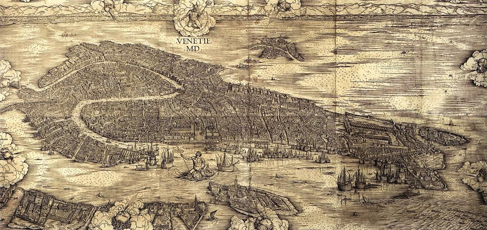 Jacopo de' Barbari's map of Venice, made in 1500. The map is nine feet wide, and so detailed that you can see exactly what each part of the city looked like in the early sixteenth century.