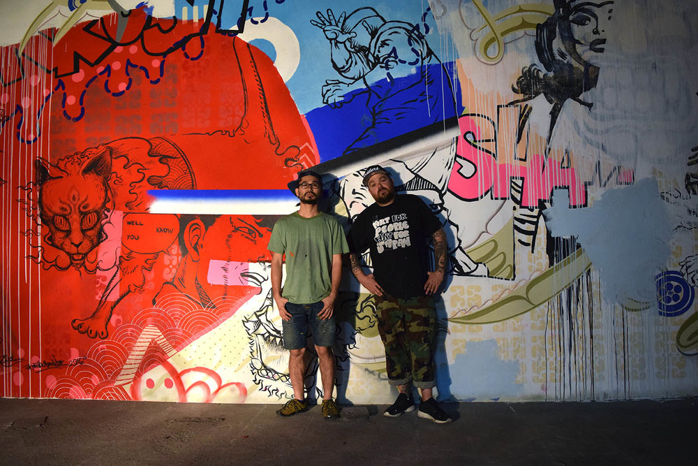 Mon and I in front of our huge painting at Jusoko, Osaka 2016