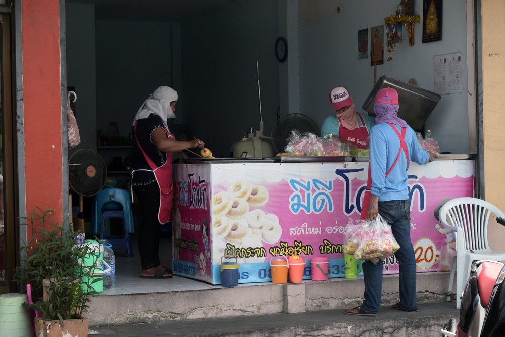 Bad Ass Women making Donuts in blistering hot weather, on the way to Ayutthaya.