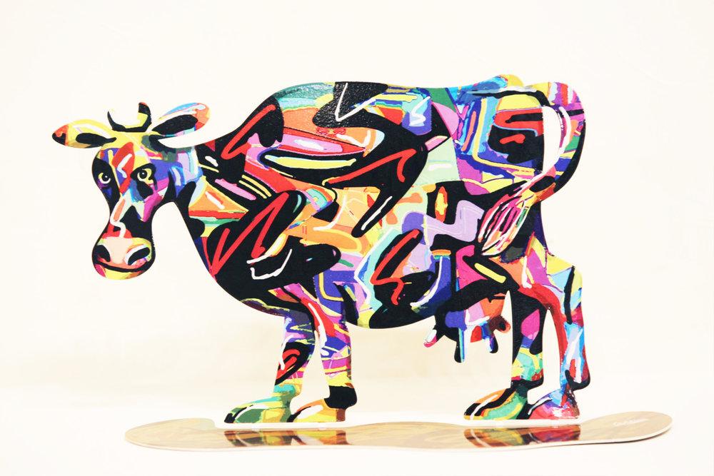 """DAVID GERSTEIN   Cow Hulda Original Metal Sculpture / Open Edition 9"""" H x 17"""" W"""