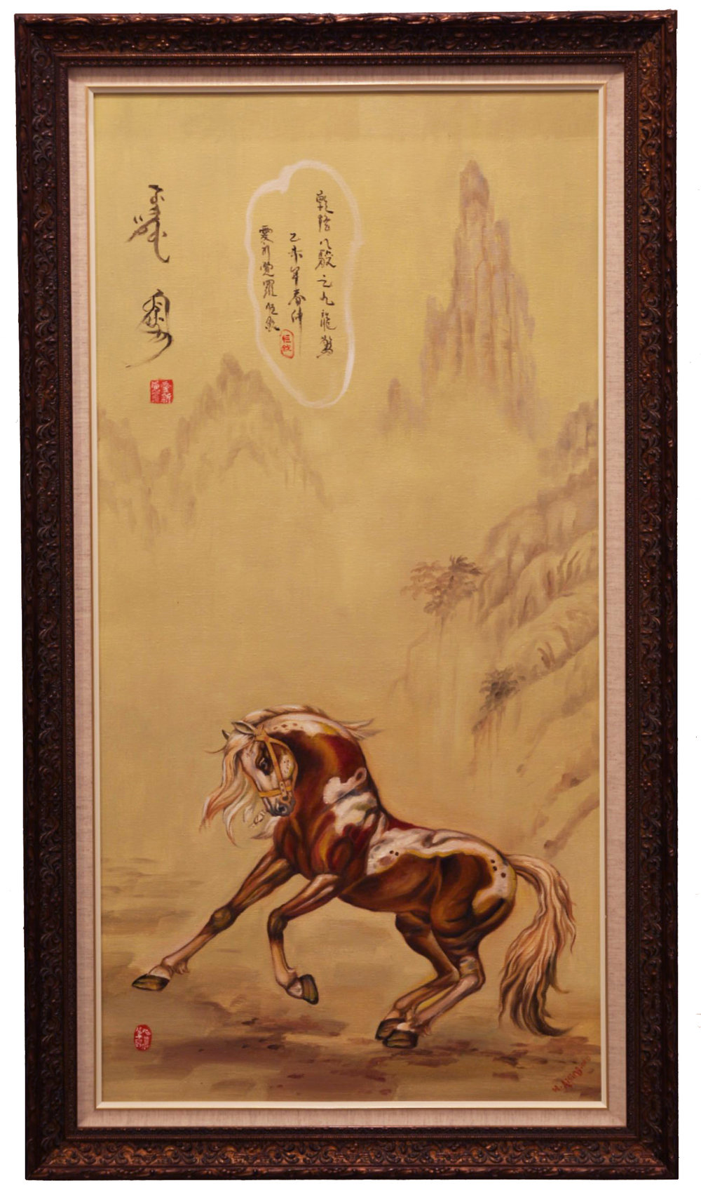 "CECILIA AISIN-GIORO   Emperor's Horses 4 Original Oil On Canvas 40""H X 20""W"