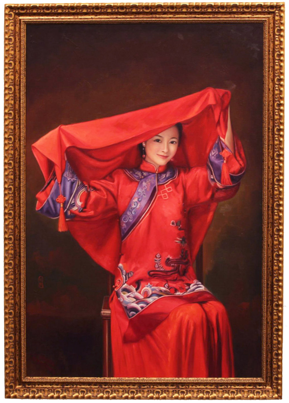 "CECILIA AISIN-GIORO   Bride 4 Original Oil On Canvas 31""H X 47""W"