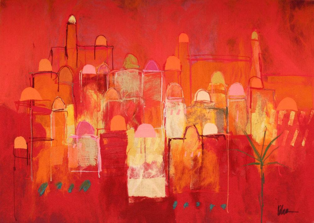 "JOHANAN HERSON   Small Jerusalem II Original Acrylic Fiber | Soft Art 39"" H x 55"" W"