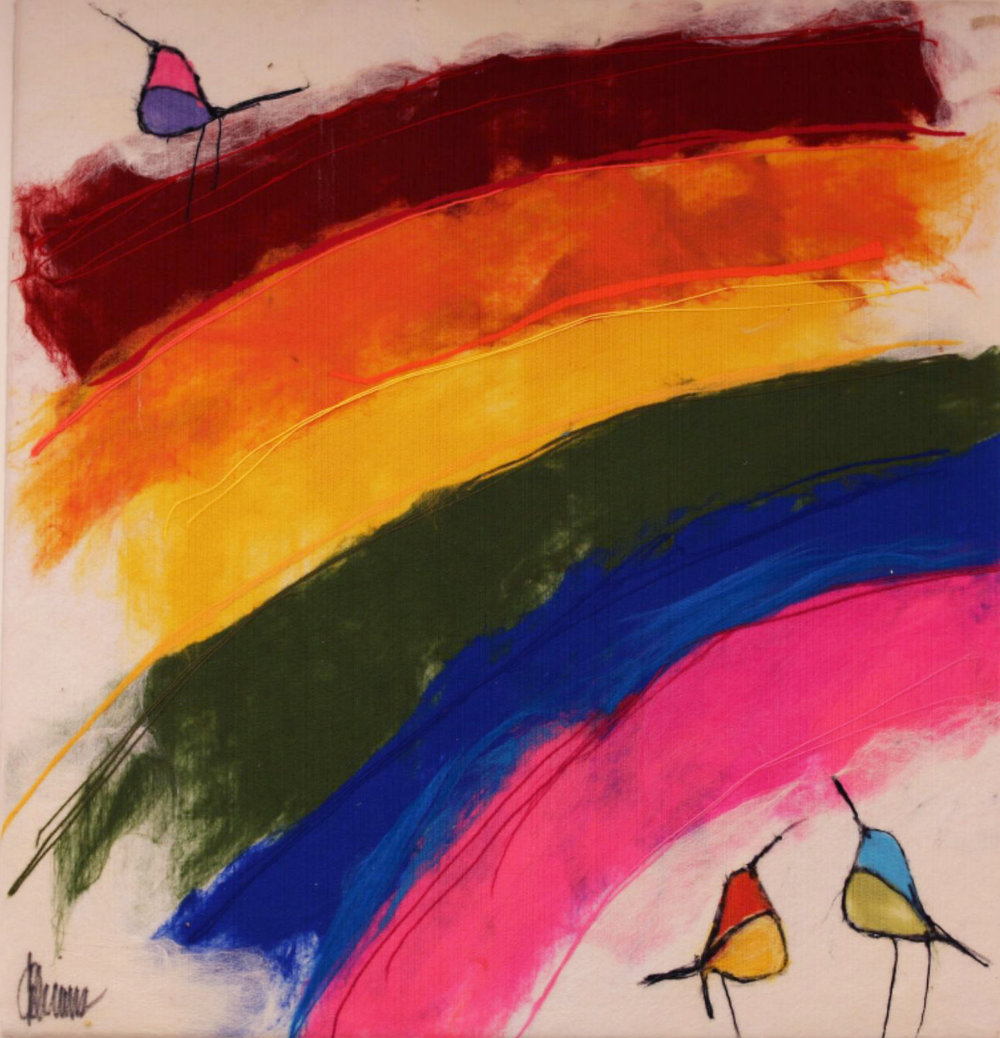 "JOHANAN HERSON   Rainbow Birds Original Acrylic Fiber | Soft Art 35"" H x 38"" W"