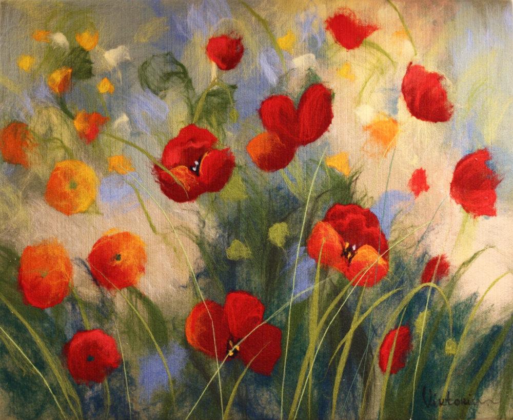 "VIKTORIA TALAEVSKY   Poppies Original Acrylic Fiber | Soft Art 26"" H x 32"" W"
