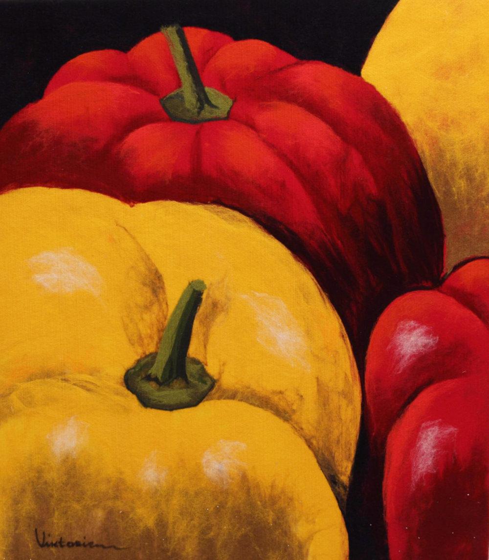 "VIKTORIA TALAEVSKY  Peppers Original Acrylic Fiber | Soft Art 40"" H x 35"" W"