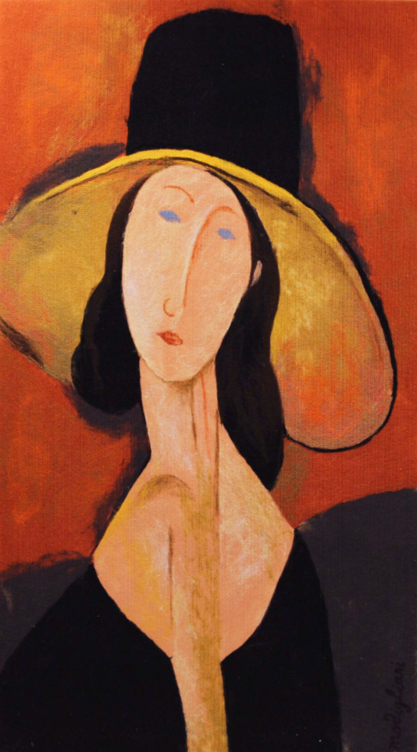 "VIKTORIA TALAEVSKY   Modigliani II Artist Authorized Reproduction Original Acrylic Fiber | Soft Art 50"" H x 28"" W"