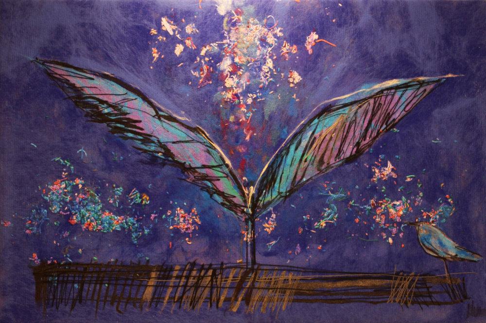 "JOHANAN HERSON   Freedom Bird Original Acrylic Fiber | Soft Art 37"" H x 56"" W"