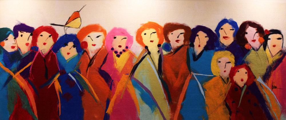 "JOHANAN HERSON   Family Gathering IIII Original Acrylic Fiber | Soft Art 38"" H x 90"" W"