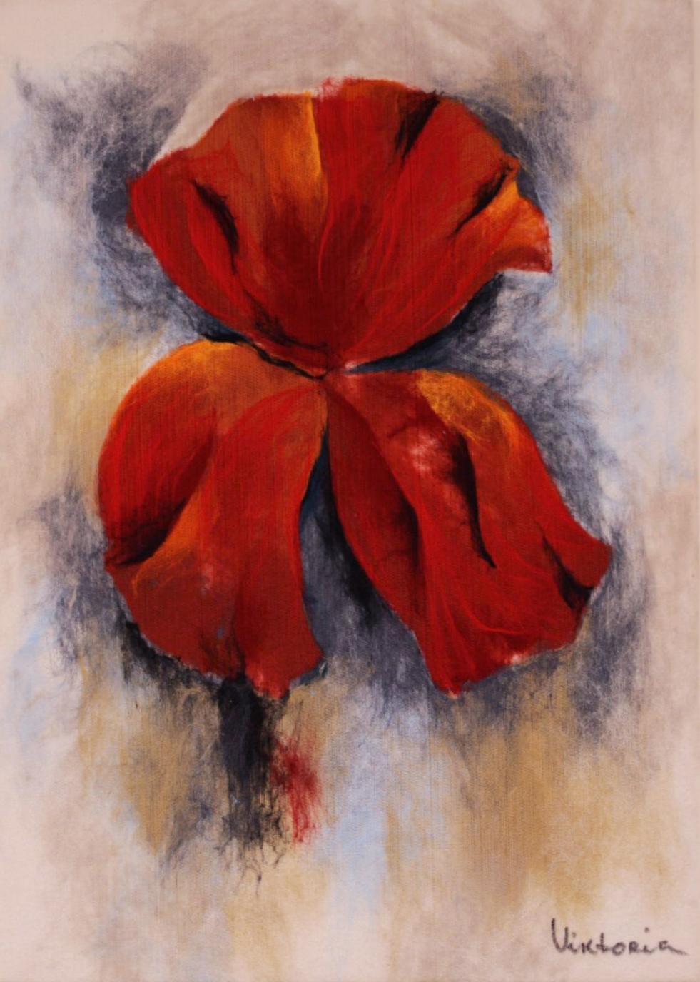 "VIKTORIA   TALAEVSKY   Flowers IIII Original Acrylic Fiber | Soft Art 33"" H x 24"" W"