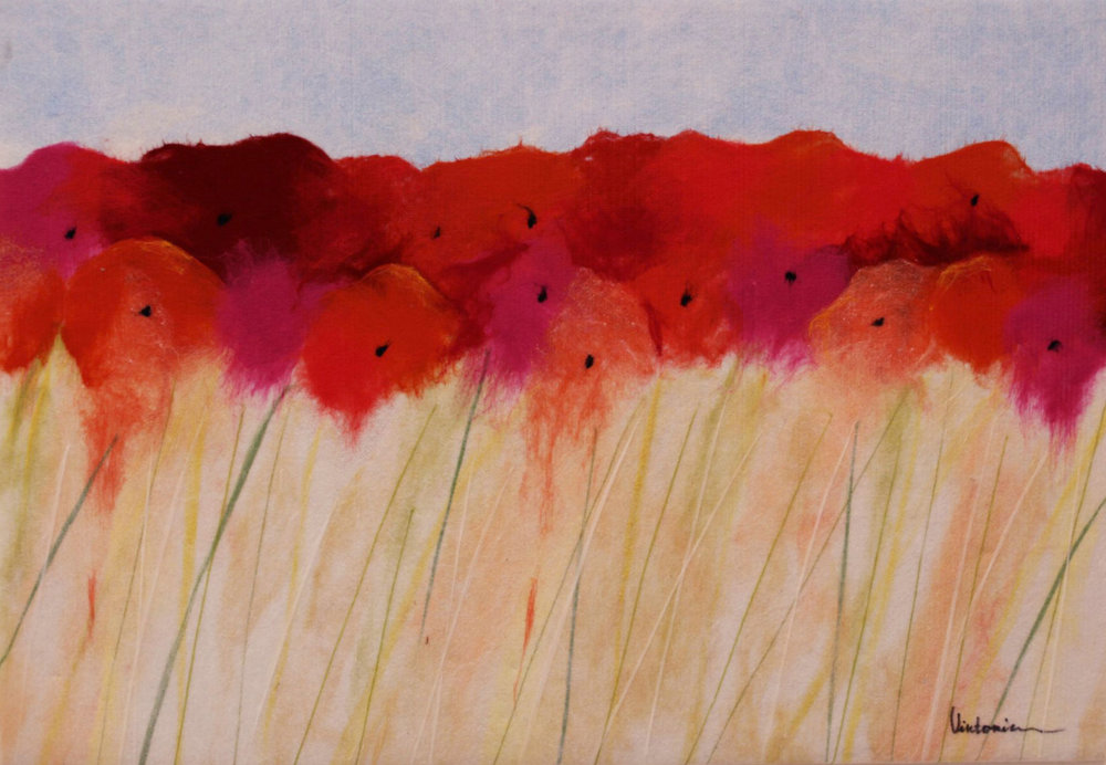 "VIKTORIA TALAEVSKY  Field of Flowers Original Acrylic Fiber | Soft Art 53"" H x 36"" W"