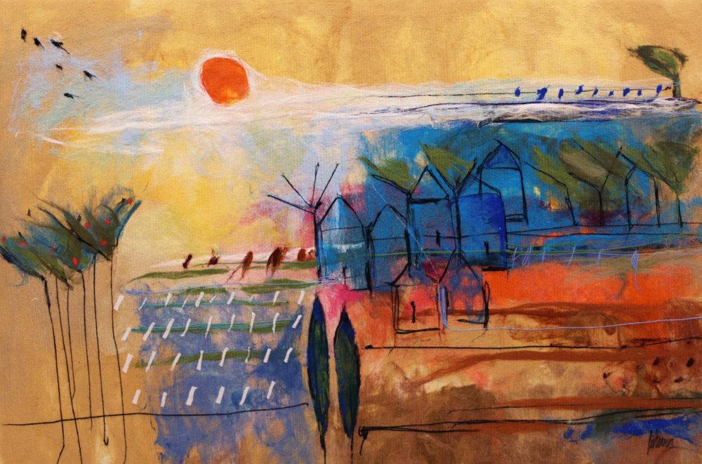 "JOHANAN HERSON   Urban Scenery Original Acrylic Fiber | Soft Art 39"" H x 57"" W"