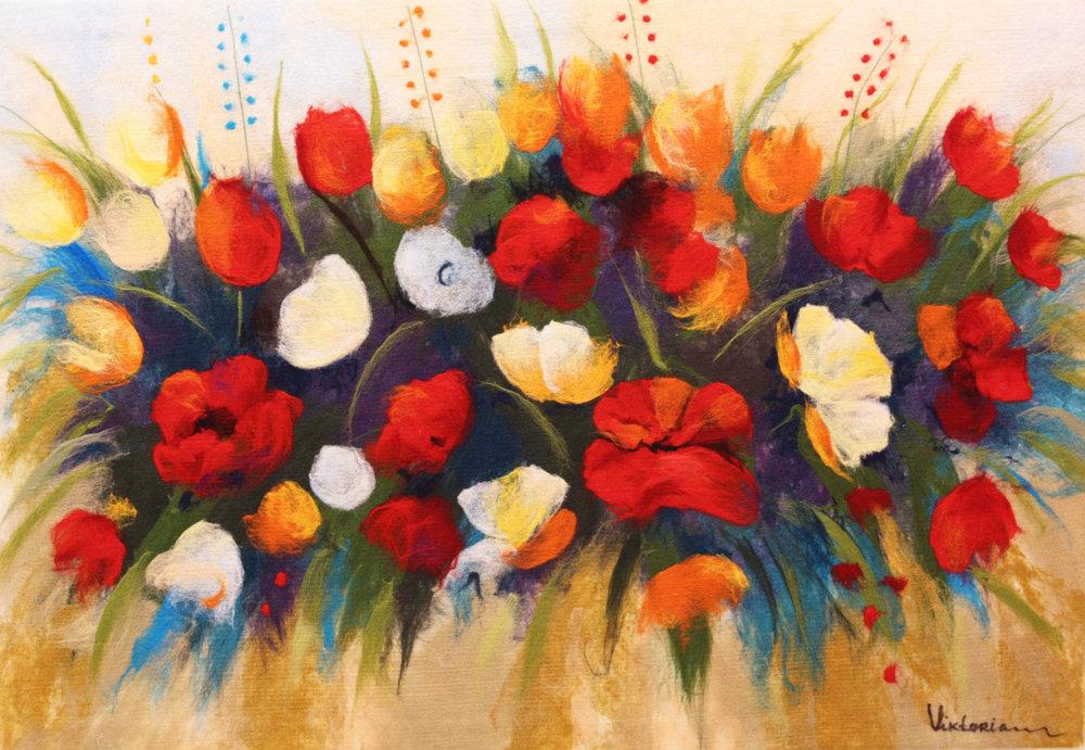 "VIKTORIA TALAEVSKY   Lovers Bouqet Original Acrylic Fiber | Soft Art 40"" H x 58"" W"