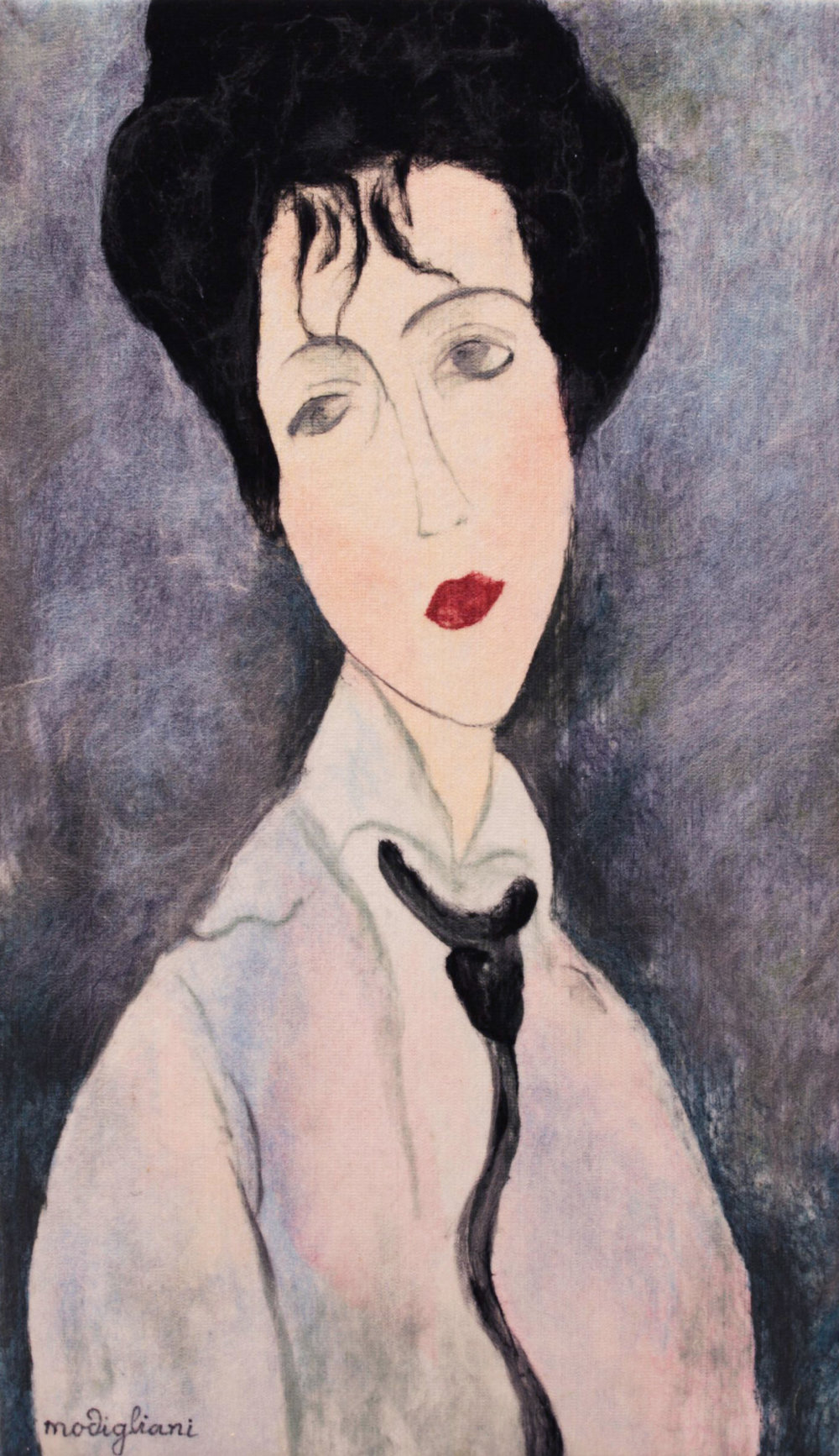 "VIKTORIA TALAEVSKY  Modigliani III Artist Authorized Reproduction Original Acrylic Fiber | Soft Art 48"" H x 28"" W"