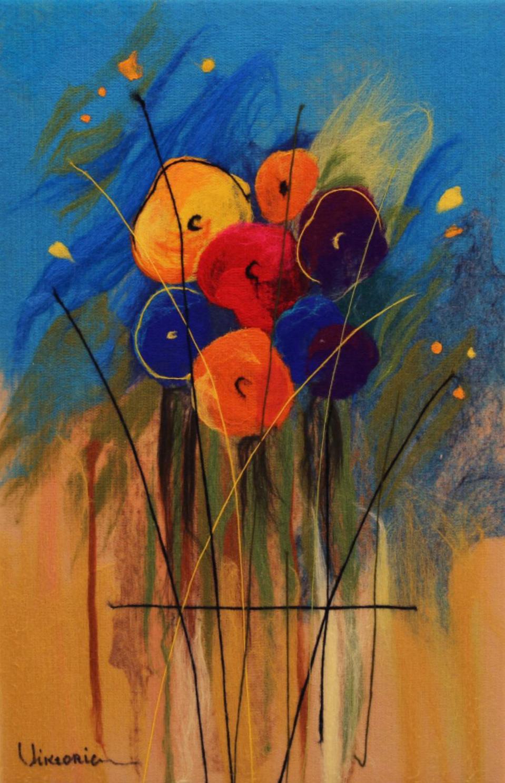 "VIKTORIA TALAEVSKY   Small Bouqet Original Acrylic Fiber | Soft Art 335"" H x 24"" W"