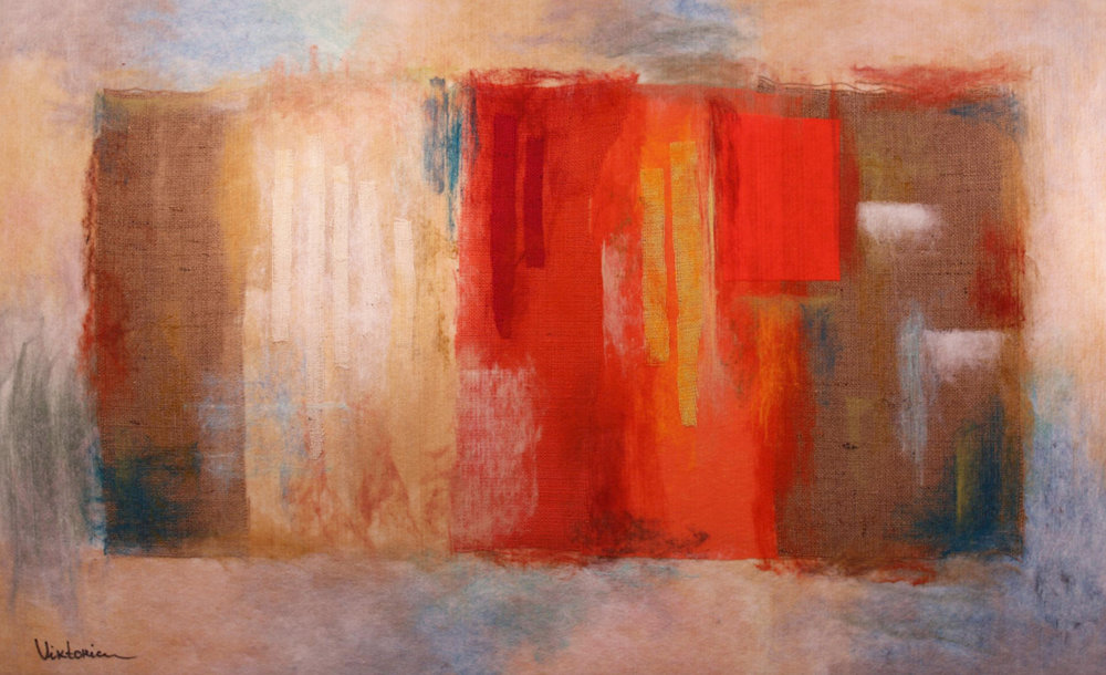 "VIKTORIA TALAEVSKY   The Color Game II Original Acrylic Fiber | Soft Art 36"" H x 58"" W"