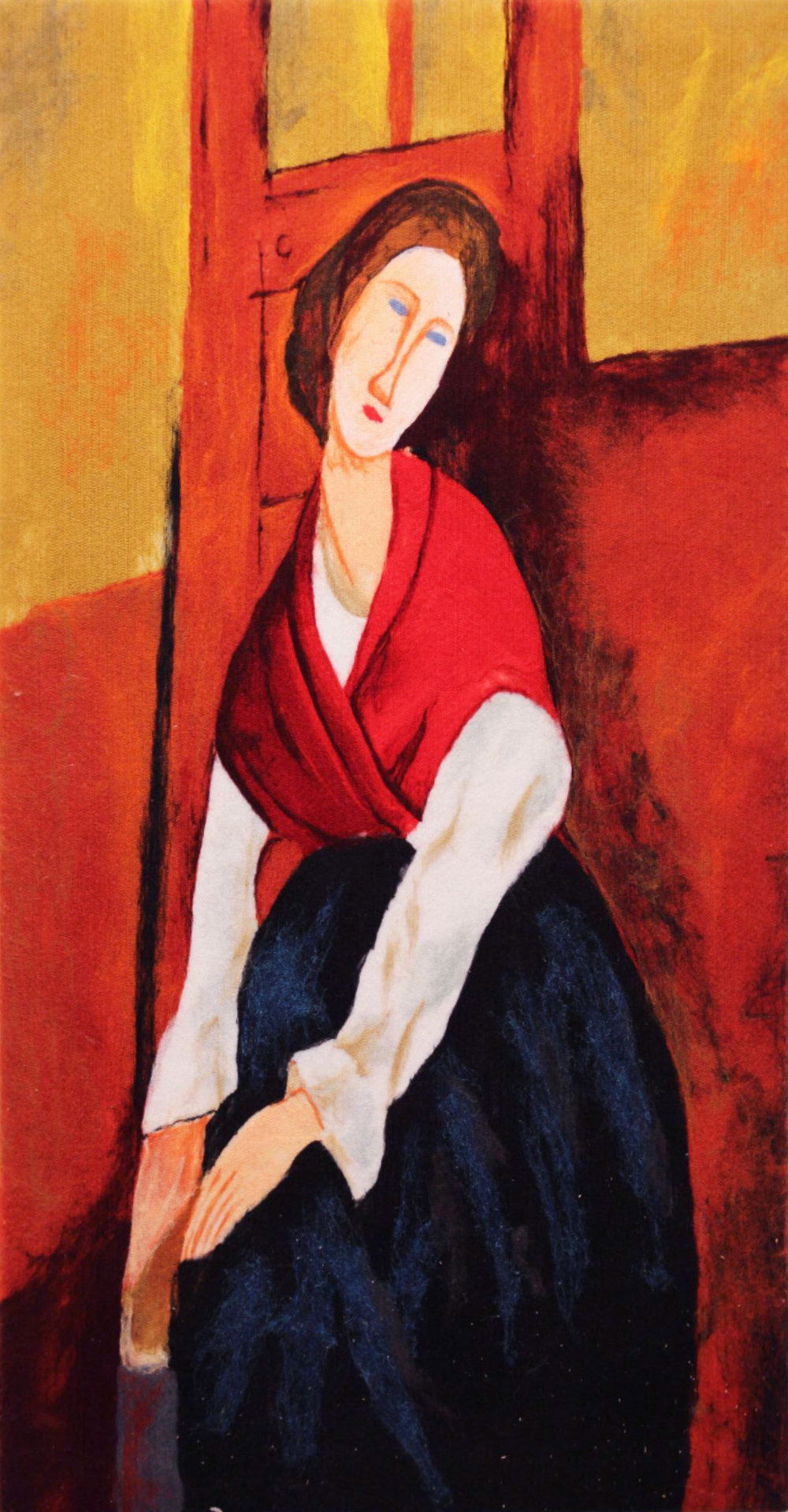 "VIKTORIA TALAEVSKY  Modigliani IIII Artist Authorized Reproduction Original Acrylic Fiber | Soft Art 50"" H x 26"" W"