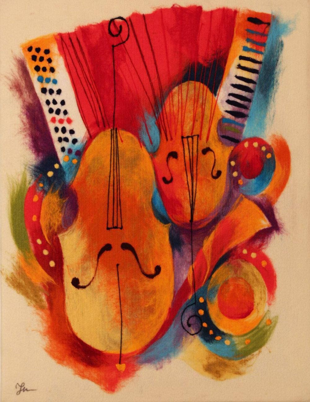 "ELENA YAMPOLSKY   Musical Instrument Original Acrylic Fiber | Soft Art 34"" H x 26"" W"