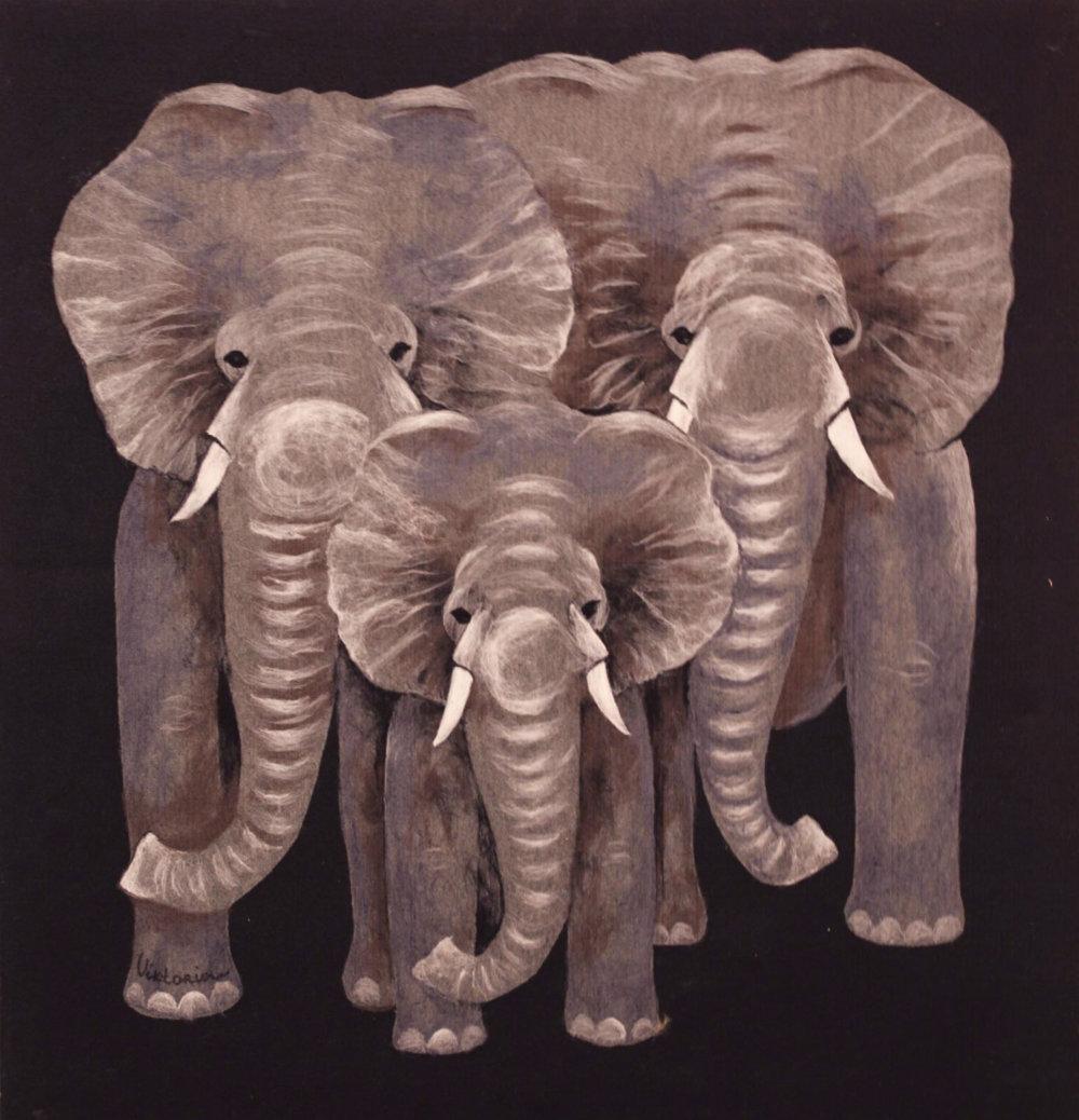 "VIKTORIA TALAEVSKY  Elephant II Original Acrylic Fiber | Soft Art 45"" H x 47"" W"