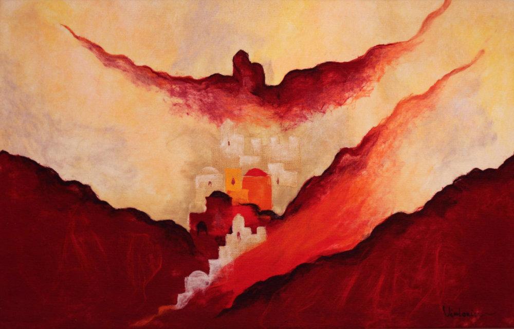 "JOHANAN HERSON   Red Jerusalem Original Acrylic Fiber | Soft Art 35"" H x 55"" W"