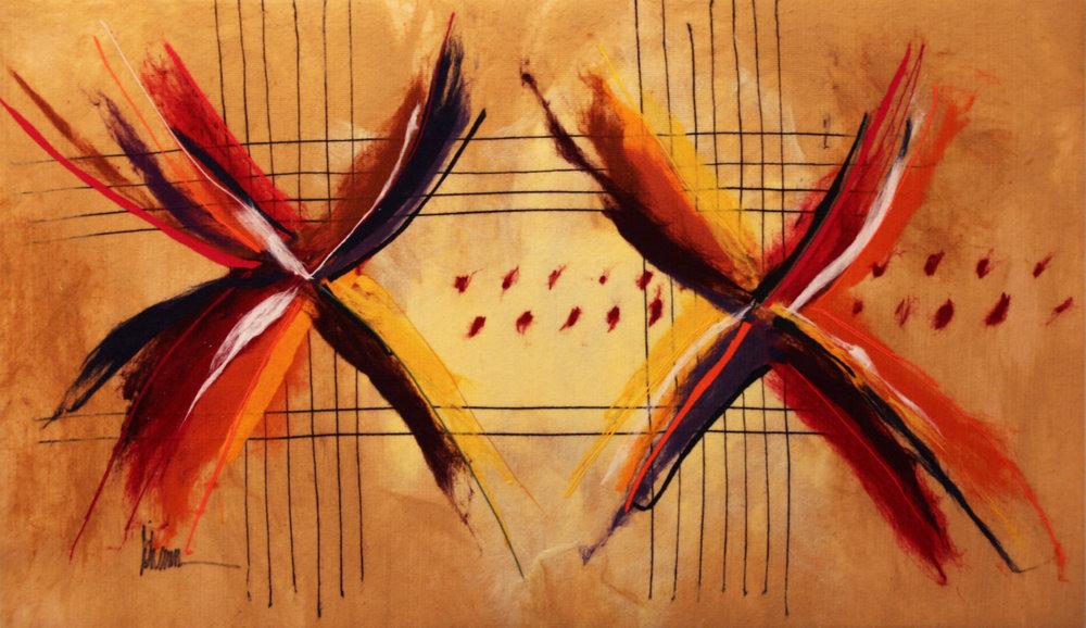 "JOHANAN HERSON   Shapes II Original Acrylic Fiber | Soft Art 33"" H x 57"" W"