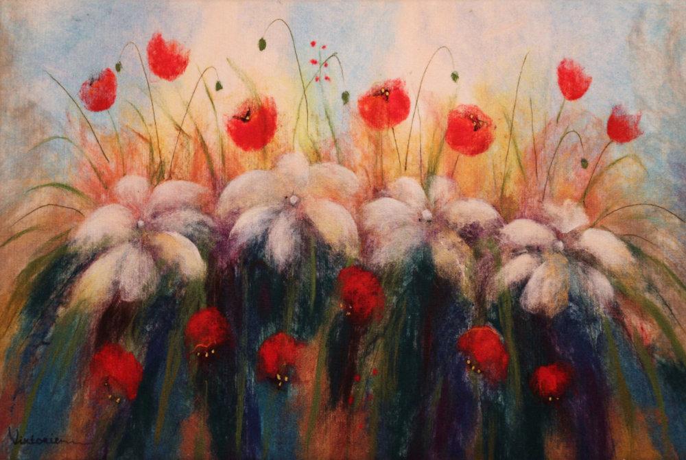 "VIKTORIA TALAEVSKY   Classic Flowers Original Acrylic Fiber | Soft Art 36"" H x 53"" W"