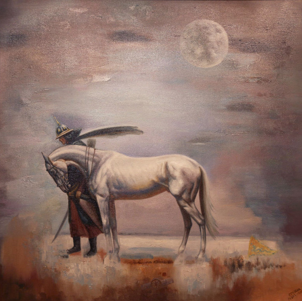"CECILIA AISIN-GIORO   The War Horse 1 (standing) Original Oil On Canvas 35""H X 35""W"