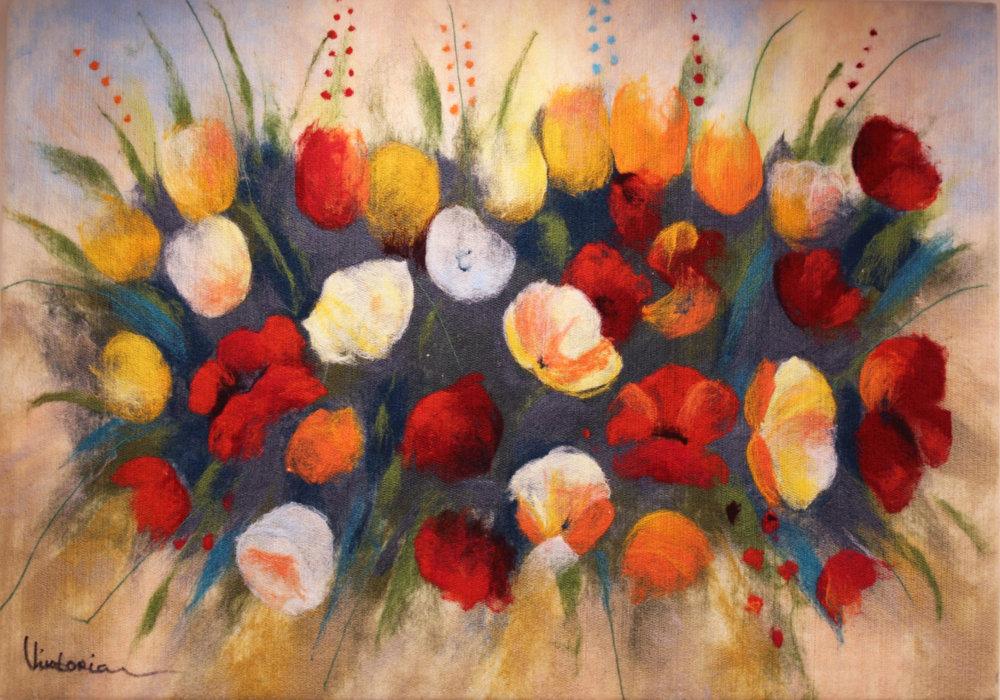"VIKTORIA TALAEVSKY   Lovers Bouqet II Original Acrylic Fiber | Soft Art 28"" H x 39""W"