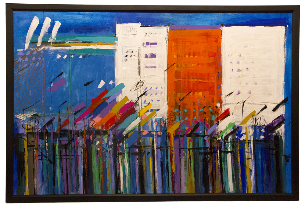"JOHANAN HERSON  Vancouver Blue Cityscape Reflections  Original Oil Abstract Painting   45"" X 69"" Framed"