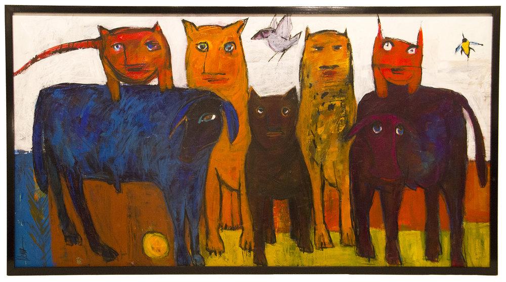 "JOHANAN HERSON   Animales Original Oil 37"" H x 68"" W"