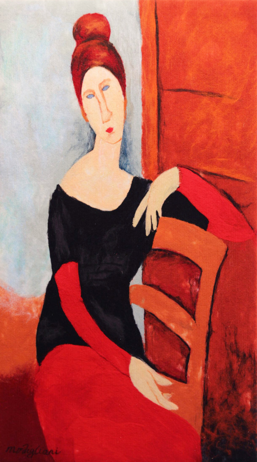 "VIKTORIA TALAEVSKY   Modigliani Artist Authorized Reproduction Original Acrylic Fiber | Soft Art 49"" H x 28"" W"
